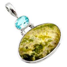 18.70cts natural yellow lizardite (meditation stone) 925 silver pendant r27956