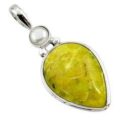18.68cts natural yellow lizardite (meditation stone) 925 silver pendant r27958