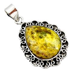 16.70cts natural yellow lizardite (meditation stone) 925 silver pendant r27959
