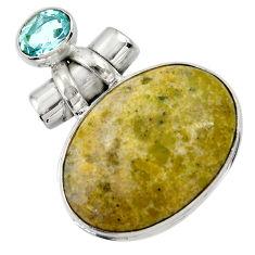 28.73cts natural yellow lizardite (meditation stone) 925 silver pendant r30536