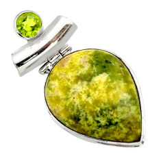 26.16cts natural yellow lizardite (meditation stone) 925 silver pendant r32181