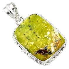 20.88cts natural yellow lizardite (meditation stone) 925 silver pendant r32182