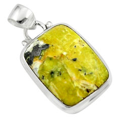 14.35cts natural yellow lizardite (meditation stone) 925 silver pendant r46381