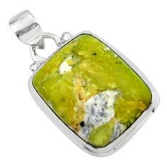 15.58cts natural yellow lizardite (meditation stone) 925 silver pendant r46382