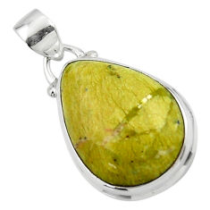 12.60cts natural yellow lizardite (meditation stone) 925 silver pendant r46383