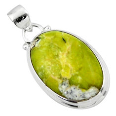 12.70cts natural yellow lizardite (meditation stone) 925 silver pendant r46384