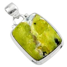 15.38cts natural yellow lizardite (meditation stone) 925 silver pendant r46386