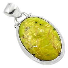 12.68cts natural yellow lizardite (meditation stone) 925 silver pendant r46389
