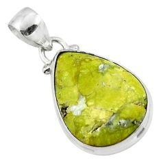 11.20cts natural yellow lizardite (meditation stone) 925 silver pendant r46390