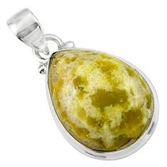 12.72cts natural yellow lizardite (meditation stone) 925 silver pendant r46391