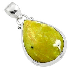 13.67cts natural yellow lizardite (meditation stone) 925 silver pendant r46395