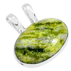13.70cts natural yellow lizardite (meditation stone) 925 silver pendant r94656