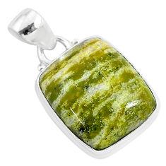 11.57cts natural yellow lizardite (meditation stone) 925 silver pendant r94657
