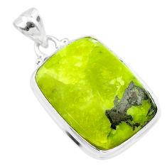 17.57cts natural yellow lizardite (meditation stone) 925 silver pendant t26501