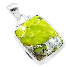 15.02cts natural yellow lizardite (meditation stone) 925 silver pendant t26510