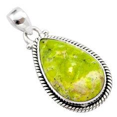 14.23cts natural yellow lizardite (meditation stone) 925 silver pendant t38661