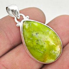 12.58cts natural yellow lizardite (meditation stone) 925 silver pendant t42601