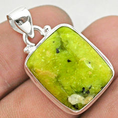 14.60cts natural yellow lizardite (meditation stone) 925 silver pendant t42615