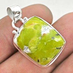 14.60cts natural yellow lizardite (meditation stone) 925 silver pendant t42619