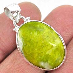 14.20cts natural yellow lizardite (meditation stone) 925 silver pendant t42629