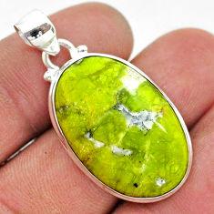 15.10cts natural yellow lizardite (meditation stone) 925 silver pendant t42642