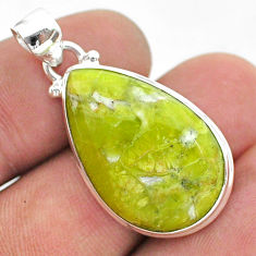 14.57cts natural yellow lizardite (meditation stone) 925 silver pendant t42650