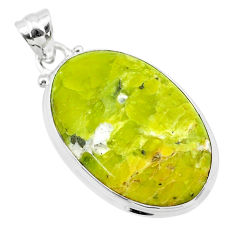 18.68cts natural yellow lizardite (meditation stone) oval silver pendant t26559