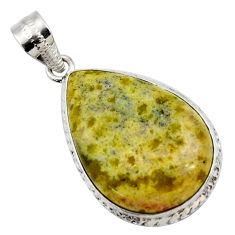 20.51cts natural yellow lizardite (meditation stone) pear silver pendant r27951