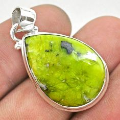 14.72cts natural yellow lizardite (meditation stone) pear silver pendant t42608