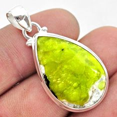 14.72cts natural yellow lizardite (meditation stone) pear silver pendant t42648