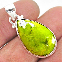 12.65cts natural yellow lizardite (meditation stone) pear silver pendant t42654
