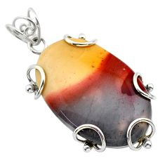 28.07cts natural yellow mookaite 925 sterling silver pendant jewelry t31786
