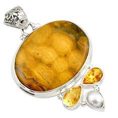 27.70cts natural yellow ocean sea jasper (madagascar) 925 silver pendant d44632