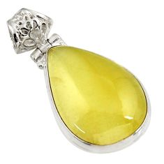 18.15cts natural yellow olive opal 925 sterling silver pendant jewelry d39301