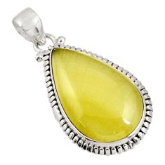 Clearance Sale- 19.68cts natural yellow olive opal 925 sterling silver pendant jewelry d39303