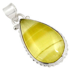 Clearance Sale- 16.18cts natural yellow olive opal 925 sterling silver pendant jewelry d39306