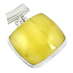 22.02cts natural yellow olive opal 925 sterling silver pendant jewelry d39309