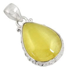 Clearance Sale- 14.12cts natural yellow olive opal 925 sterling silver pendant jewelry d39314