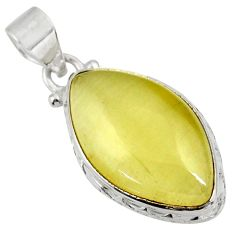 Clearance Sale- 16.20cts natural yellow olive opal 925 sterling silver pendant jewelry d39318