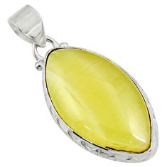 Clearance Sale- 18.68cts natural yellow olive opal 925 sterling silver pendant jewelry d39319