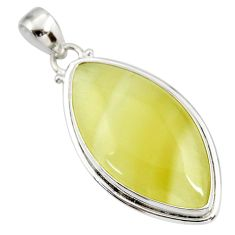 22.59cts natural yellow olive opal 925 sterling silver pendant jewelry d41401