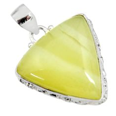 Clearance Sale- 22.59cts natural yellow olive opal 925 sterling silver pendant jewelry d41403