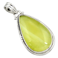 Clearance Sale- 20.88cts natural yellow olive opal 925 sterling silver pendant jewelry d41410
