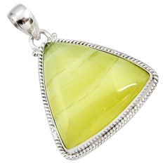 Clearance Sale- 27.64cts natural yellow olive opal 925 sterling silver pendant jewelry d41411