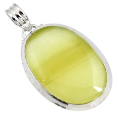 Clearance Sale- 28.70cts natural yellow olive opal 925 sterling silver pendant jewelry d41415
