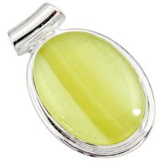 Clearance Sale- 18.15cts natural yellow olive opal 925 sterling silver pendant jewelry d41417
