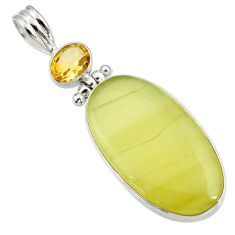 Clearance Sale- 24.00cts natural yellow olive opal citrine 925 sterling silver pendant d41413