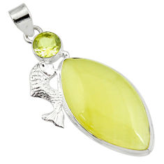 28.08cts natural yellow olive opal green amethyst 925 silver fish pendant d41406