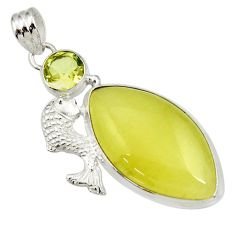 Clearance Sale- 25.00cts natural yellow olive opal green amethyst 925 silver fish pendant d41407
