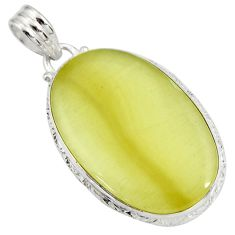 Clearance Sale- 24.38cts natural yellow olive opal oval 925 sterling silver pendant d41412